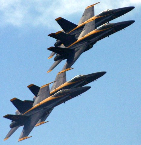 Blue Angels flying over our backyard...